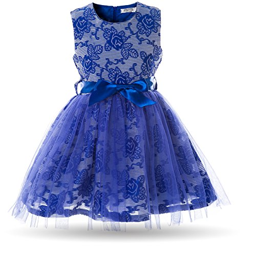 Dress Tier 3 - CIELARKO Girls Dress Children Tulle Birthday Party Prom Dresses for 2-7 Years (3-4 Years, Blue)