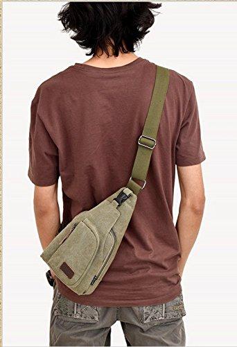 foopp, Schultertasche Brusttasche Crossbody Canvas Sport Tasche für Herren (Armee Grün)