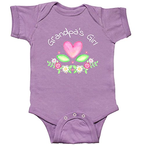 - inktastic - Grandpas Girl- Heart Flowers Infant Creeper 6 Months Lavender 2fae9