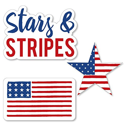 - Big Dot of Happiness Stars and Stripes - Labor Day DIY Shaped USA Patriotic Party Cut-Outs - 24 Count