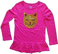 Girls Sequin Cat Face Long Sleeve Shirt