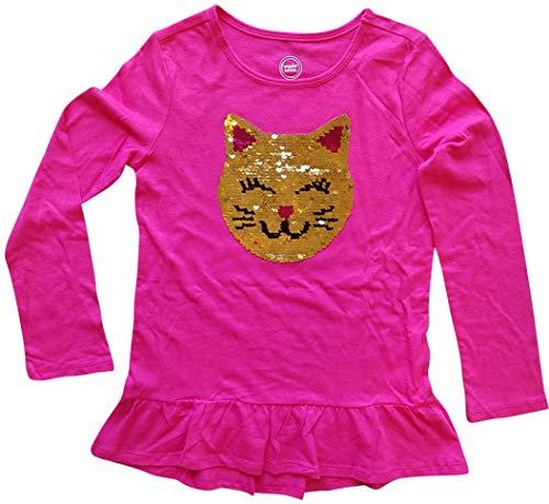 - Flippy Sequin Cat Face Pink Long Sleeve Shirt for Girls (Medium 7-8)