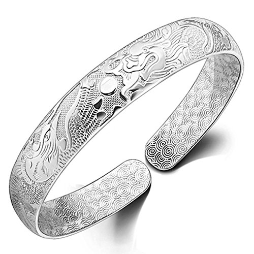 Onefeart Sterling Silver Bangle for Women Bracelet for Dragon and Phoenix 10x55MM Chinese Style ()