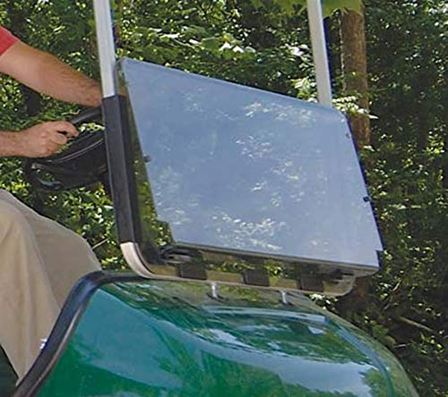 (Yamaha G29 Drive to 2016 Tinted Fold Down Impact Resistant Windshield for Yamaha G29 Drive Golf Cart - INSTALLS and UNINSTALLS in Minutes!)