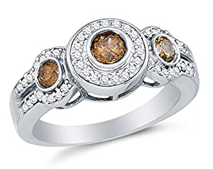 Size 9.5 - 10K White Gold Chocolate Brown & White Round Diamond Halo Circle Engagement Ring - Prong Set Three Stone Center Setting Shape with Channel Set Side Stones (4/5 cttw.)