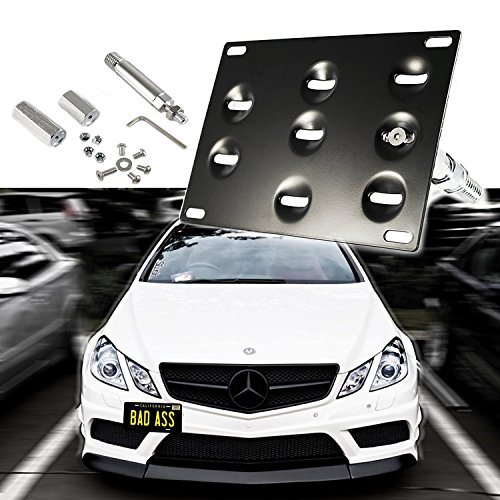 1 Set Front Tow Hook License Plate Bumper Mounting Bracket Fit Mercedes-Benz C E S M GLA GLK CLA ML SL AMG Class[Black]