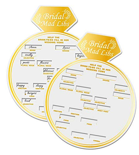50 Bridal Shower Game Card Ring Shaped Bridal Mad Libs Party Game.]()