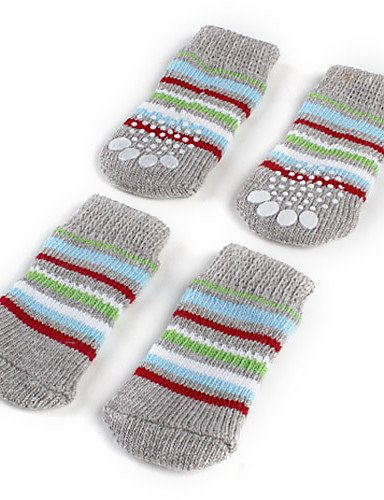MQZM perro gato Puppy ropa ropa Pet Dress Up - Alimentos para mascotas calcetines y botas para perros primavera/otoño algodón gris