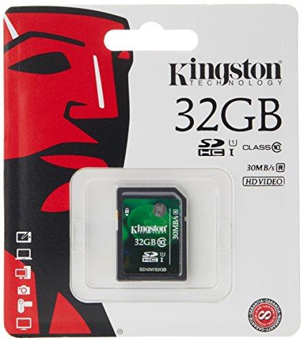 Kingston Digital 32 GB SDHC/SDXC Class 10 UHS-1 Flash Memory Card 30MB/s (SD10V/32GB) by Kingston
