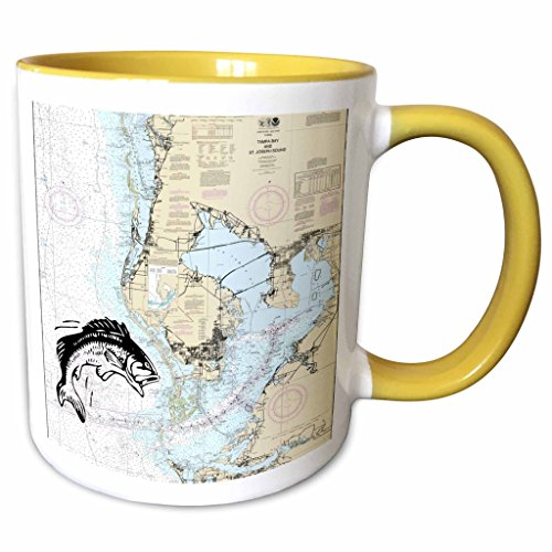 3dRose Florene - Nautical Map Décor - Print of Nautical Map Of Tampa Bay With Fish - 11oz Two-Tone Yellow Mug - Tampa Map Outlets