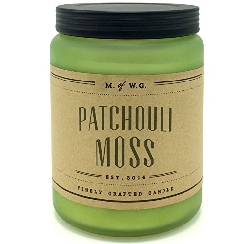 Makers of Wax Goods Patchouli Moss Scented Candle with Two Wicks in a Frosted jar