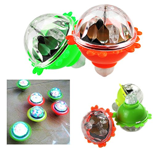Toy Cubby Light-up Flashing LED Spinning Top Glowing Lights Rotating Peg - 6 Pieces