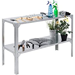 Giantex Galvanized Steel Workbench Worktable Workstation Prepare Work Potting Table Two Tier Storage Shelf