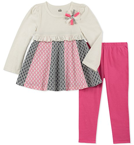 - Kids Headquarters Baby Girls 2 Pieces Legging Set, White/Pink, 12M