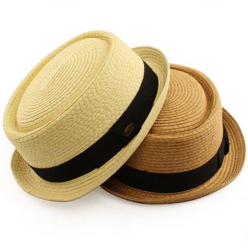 921ebaa8a6 Men's Cool Summer Straw Pork Pie Derby Fedora Upturn Brim Hat < Fedoras <  Clothing, Shoes & Jewelry - tibs