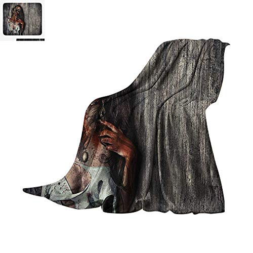 Zombie Lightweight Blanket Angry Dead Woman Sacrifice Fantasy Design Mystic Night Halloween Image Velvet Plush Throw Blanket 60
