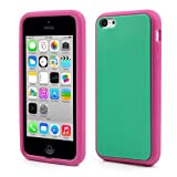 JUJEO Two Tone Flex Silicone Cover Case for iPhone 5C, Non-Retail Packaging, Green
