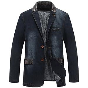 Men's 2 Buttons Leather Lapel Denim Jackets Casual Business Suits Blazer