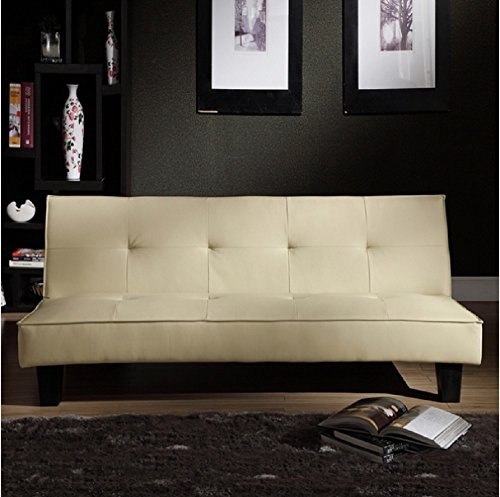 Tribecca Home Bento Beige Faux Leather Modern Mini Futon Sofa Bed, This Modern Futon Is Upholstered with High-quality Beige Faux Leather. Able to Convert to a Bed, This Modern Futon Sofa Bed Has a Hardwood Frame with Legs in an Espresso Finish. (Fake Hard Wood Floors compare prices)