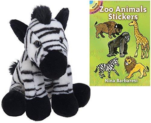 Plush Zebra Mascot Costumes (Ganz Heritage Collection Zebra Plush Animal with Zoo Animals Sticker Book)