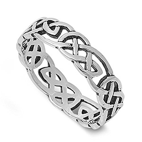 Sterling Silver Women's Men's Celtic Knot Infinity Ring Fashion Band Size 4
