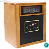 SKEMiDEX--- 1500W Quartz Infrared Space Heater Wheels Remote control Lifetime Filter Perfectly safe around the children and pets with no exposed heating elements. Thermostat regulates the heater