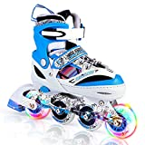 Kuxuan Kids Doodle Design Adjustable Inline Skates with Front and Rear Led Light up Wheels, Comic Style Rollerblades for Boys