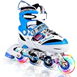 Kuxuan Kids Doodle Design Adjustable Inline Skates with Front and Rear Led Light up Wheels, Comic Style Rollerblades for Boys and Girls