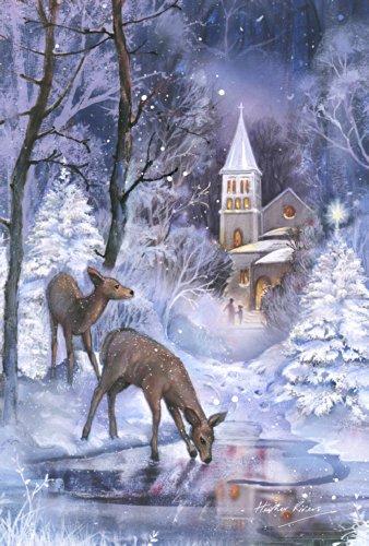 - Toland Home Garden Frozen Fawns 12.5 x 18 Inch Decorative Winter Pond Snow Deer Church Scene Garden Flag - 119722