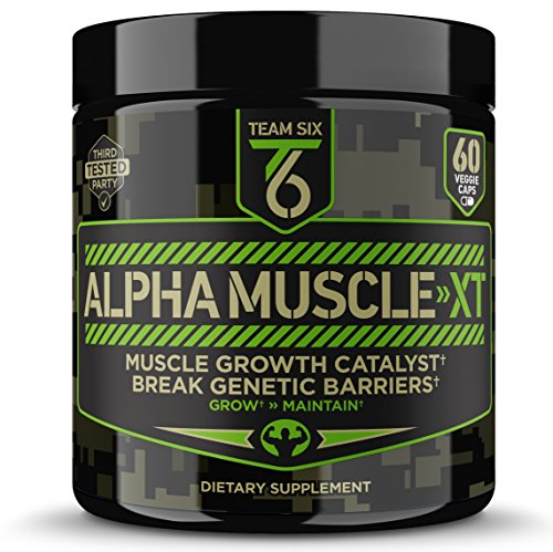T6 Testosterone Booster - ALPHA MUSCLE-XT, Scientifically Formulated Muscle Builder for Men with Ashwagandha (KSM-66), Zinc, DIM (Estrogen Blocker) and 4 More Muscle Building Ingredients, 60 V-Caps (Best Muscle Building Testosterone Supplement)