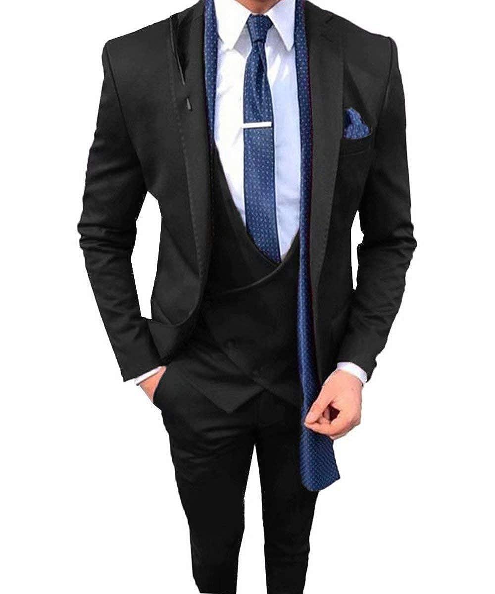 RSONGKIM Mens Formal Suit Groom Wedding Suits Slim Fit 3 Piece Tuxedo Prom Blazer