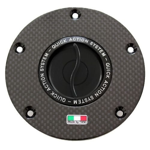 TWM Quick Action Carbon Fiber Fuel Gas Cap with Black Handle fits Ducati 899 959 1199 1299 Panigale S R Scrambler StreetFighter Monster Diavel ()