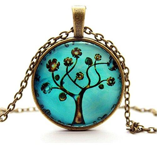 Vintage Retro Living Tree of Life Cabochon Bronze Glass Chain Pendant Necklace