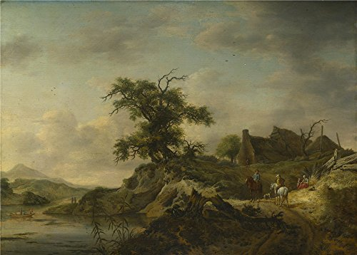 Perfect Effect Canvas ,the Replica Art DecorativeCanvas Prints Of Oil Painting 'Jan Wouwermans A Landscape With A Farm On The Bank Of A River ', 18 X 25 Inch / 46 X 64 Cm Is Best For Living Room Decor And Home Decoration And Gifts