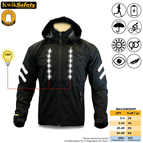 KwikSafety Active Wear | Men Women Racing LED Cycling Jacket | Hi VIS Reflective Luminous Firefly Light Strips | Long Sleeve Recreational Athletic Performance Motorsport Biker Gear | Black - Jackets Bike Racing