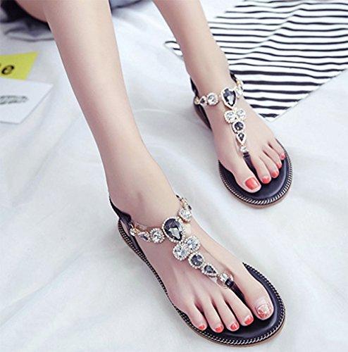 de diamantes para moldean las imitación sandalias mujeres fondo versátiles a plano KUKI antideslizantes los de de 2 usar estudiantes YxfwFR1qd