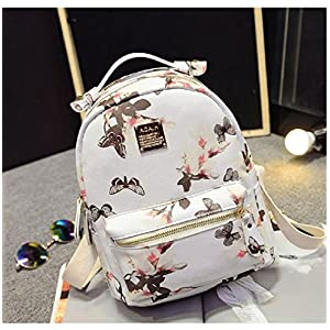 SP-CHARMING Fashion Causal High Quality Floral Printing PU Leather Backpacks (White1)