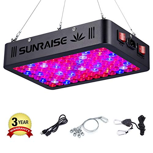 SUNRAISE 1000W LED Grow Light Full Spectrum Triple-Chips LED Veg and Bloom Two Switches LED Grow Lamp for Indoor Plants with Lens Tech Daisy Chain (15watt led 96pcs)