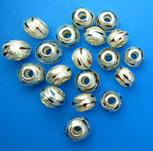 bc9886073 New 14mm x 12mm Perlavita European Style Silver and Black Teardop Murano  Glass Rondelle Spacer Bead