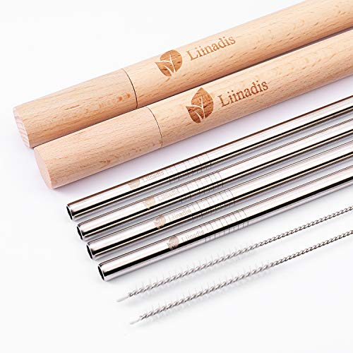 - Eco-Friendly Reusable, Premium Stainless Steel Metal Drinking Straws & 2 Handcrafted Wooden Travel Cases | Wide Mouth Straw Set of 4 & 2 Cleaning Brushes | Zero Waste | Smoothie Drinking Straws for Mi
