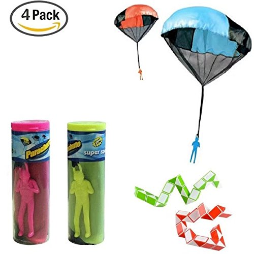 Veliis Tangle Free Throwing Toy Parachute Men No Strings No Batteries.Toss It Up and watch Landing 4 Pieces Set Assorted Colors + 2 Pieces Mini Magic Snake Ruler Assorted Color for Kids and (Glow In The Dark Toy Parachute)