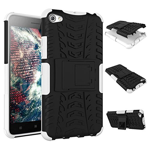 Lenovo S60 Case,DAMONDY Shock Proof Tough Rugged Dual-Layer Armor Hybrid TPU&PC Hard Case with Built-in Kickstand for Lenovo S60(white)