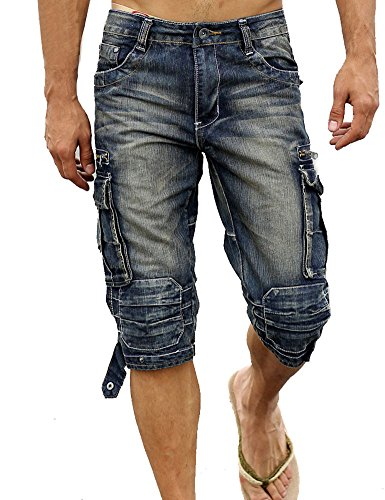 Idopy Men`s Cargo Denim Biker Jeans Shorts with Zippers 36