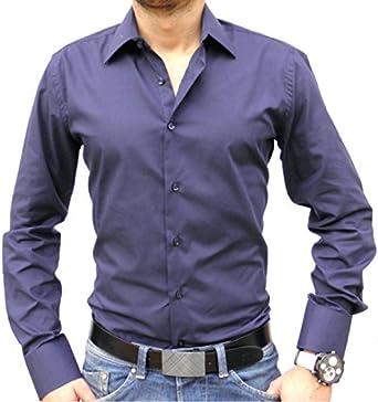 Camisa italiana, color azul marino Azul azul marino: Amazon ...