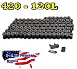 #420 Motorcycle Chain 120-Link with 1 Master Link High Performance Go Kart, Mini Bike, Scooters, Natural Color
