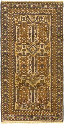 eCarpetGallery Hand-knotted Khandahar Finest 3-Feet 6-Inch by 6-Feet 9-Inch Wool Rug, Beige