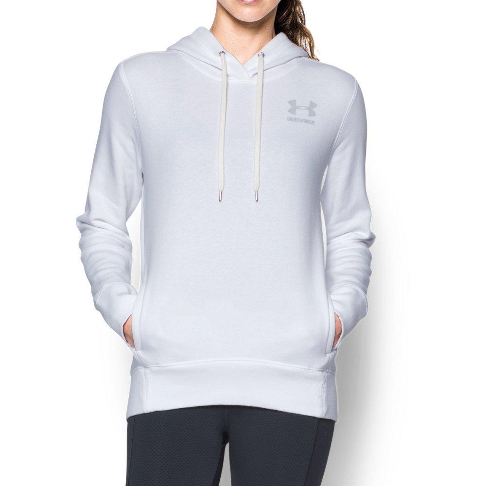 Under Armour Women's Favorite Fleece Big Logo Hoodie, White (100)/Elemental, Small