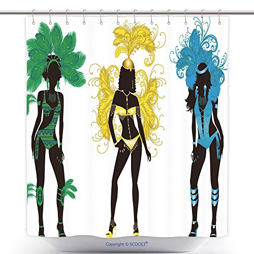 Mildew Resistant Shower Curtains Vector Illustration For Carnival Silhouettes With Different Costumes 82455781 Polyester Bathroom Shower Curtain Set With Hooks - Posh And Beckham Costume