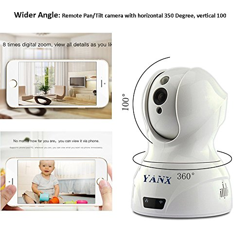 Baby Monitor,YANX Wifi Wireless Full HD IP Security Camera Home Security Camera System with Plug/Play, Pan/Tilt, Night Vision and Two-Way Audio