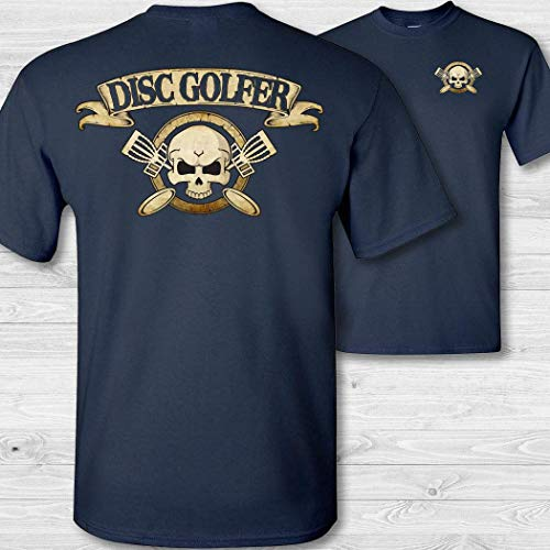 Men's Disc Golfer Skull & Crossbones Badge Short Sleeve Tee Shirt